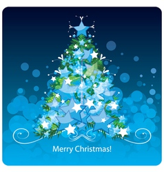 Christmas tree greetings card vector image