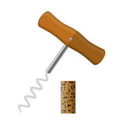 corkscrew with wooden handle and wine cork vector image vector image
