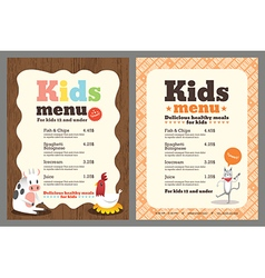 Cute colorful kids meal menu template vector image vector image