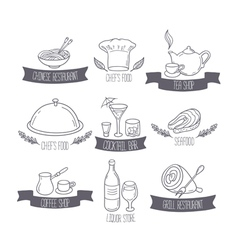 Hand drawn food and drinks labels templates for vector image vector image