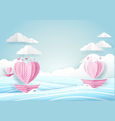 heart shape boat in the sea and cloud sky love vector image vector image