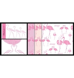 set of card and seamless pattern with pink vector image