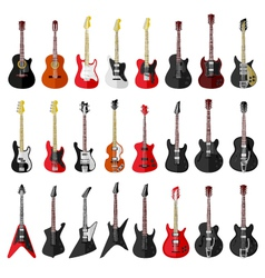 Set of isolated vintage guitars vector image vector image