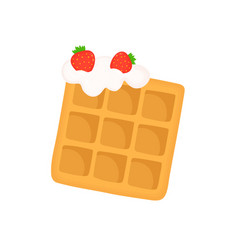 viennese waffle with whipped cream vector image