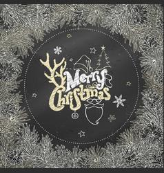 chalk christmas coniferous frame on blackboard vector image
