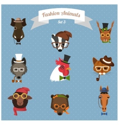 Fashion hipster animals set 3 vector