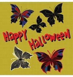 Happy Halloween set night butterflies dead vector image
