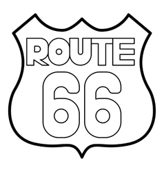 Route 66 shield icon outline style vector image