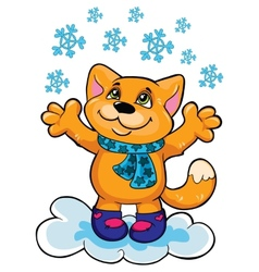 Cat and snow on a white background vector image vector image