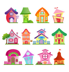 funny country buildings set vector image vector image