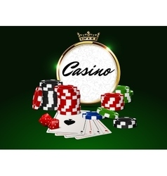Round casino golden frame crown poker chips vector image