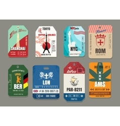Vintage baggage or luggage paper tags set vector image vector image