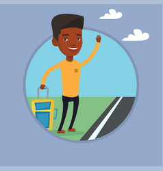 young man hitchhiking vector image vector image