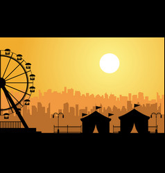 flat amusement park scenery at sunrise vector image vector image