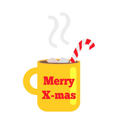 merry christmas yellow cup with striped straw vector image