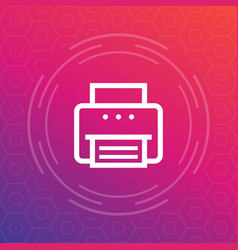 printer icon in linear style vector image vector image