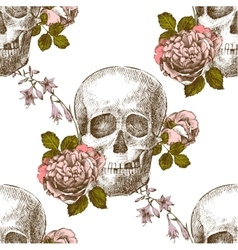 Seamless pattern skull with flowers vector image vector image
