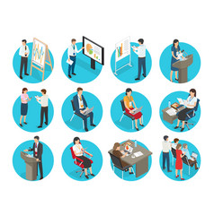 Set of business icons with office workers vector