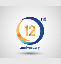 12 anniversary design with blue and golden circle vector