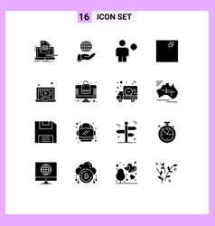 16 universal solid glyphs set for web and mobile vector