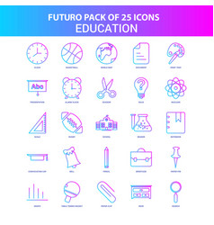 25 blue and pink futuro education icon pack vector