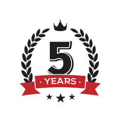 5 th birthday vintage logo template fifth years vector image