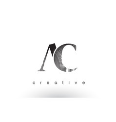 Ac logo design with multiple lines and black vector