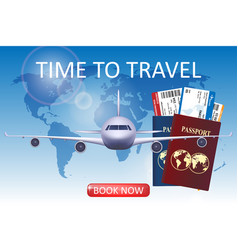 air travel with airplane brochure in vector image