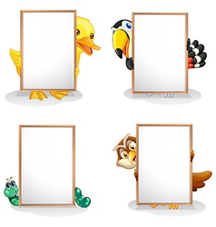 Animals hiding at the back of the whiteboards vector