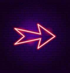 Arrow neon label vector