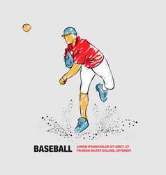 Baseball pitcher throws ball outline baseball vector