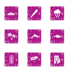 Bathing beach icons set grunge style vector