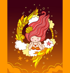 Beautiful dreamy girl with fiery hair surrounded vector