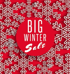 Big winter sale poster red background discount vector image