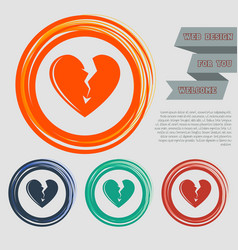 broken heart icon on the red blue green orange vector image