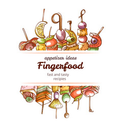 canape finger food hand drawn restaurant poster vector image