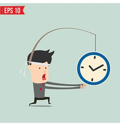 Cartoon Business man trying to reach a clock vector