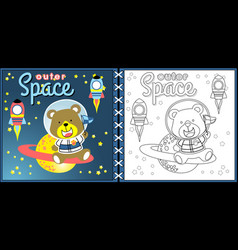 cartoon of going to outer space vector image