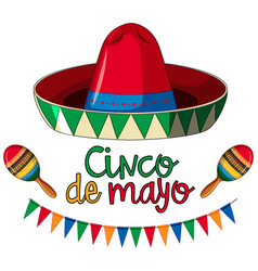 Cinco de mayo card template with red hat and vector