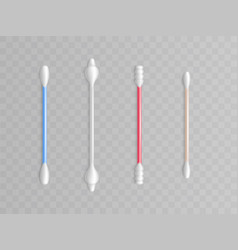 Cotton buds realistic toiletries plastic vector