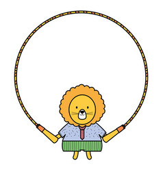 Cute lion jumping rope vector