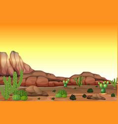 Desert scene at sunset vector
