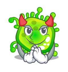 devil cartoon microbes on the humans hand vector image