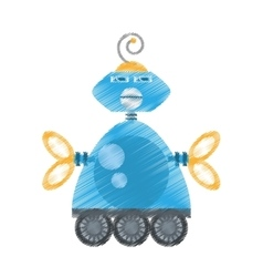 Drawing blue robotic antenna communication vector