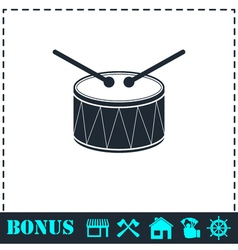 Drum icon flat vector