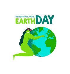 earth day card of mother nature hugging the planet vector image
