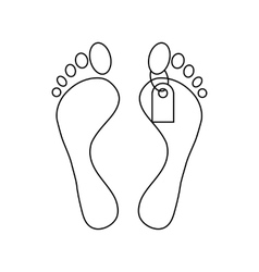 Feet with a tag icon outline style vector image