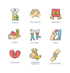 Friendship and support rgb color icons set best vector