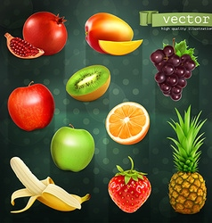Fruits set on dark background vector