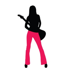 Girl with guitar silhouette vector